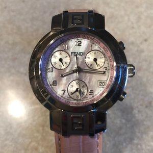 Women's pink face fendi watch
